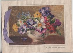MANY HAPPY RETURNS various flowers in vase