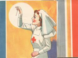 no front title, nurse looking at thermometer, red, white & orange  & blue stripes right