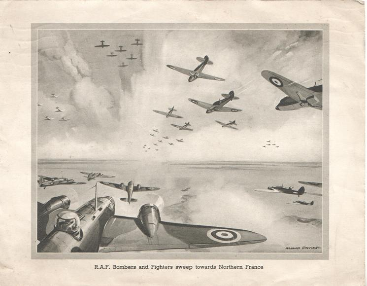 R.A.F. BOMBERS AND FIGHTERS SWEEP TOWARDS NORTHERN FRANCE