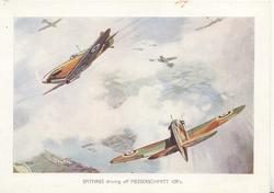 SPITFIRES DRIVING OFF MESSERSHHMITT 109'S
