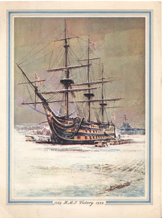 1759 H.M.S.VICTORY 1959, winter scene at dock