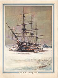 1759 H.M.S.VICTORY 1959, winter scene at dock