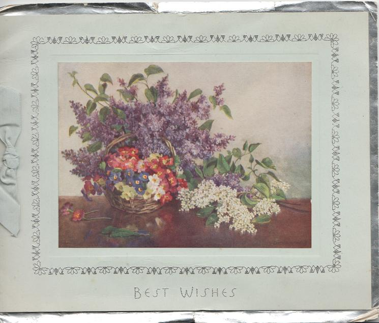 BEST WISHES in silver below inset of basket of lilac & polyanthus
