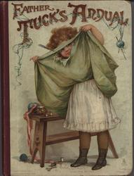 FATHER TUCK'S ANNUAL 1898 for 1899, girl lifts up her skirt and peeks through a hole in the material
