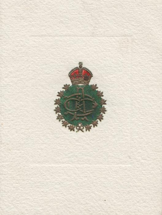 CDCO gilt embossed on green crest