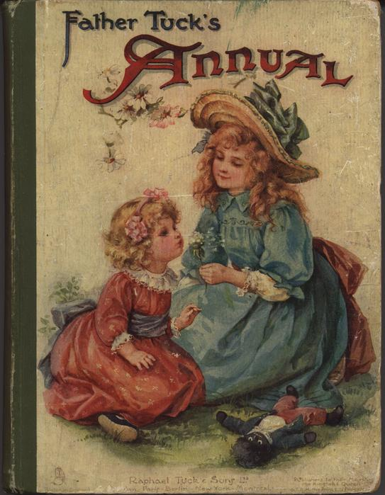 FATHER TUCK'S ANNUAL 1906 for 1907, girl in blue dress holds a flower for little girl in red dress to blow
