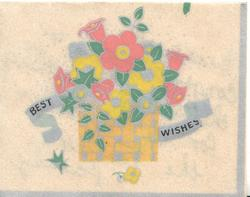 BEST WISHES on blue ribbon behind basket of stylised flowers, cream background
