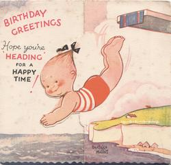 "BIRTHDAY GREETINGS in red, girl dives left,fish smiles, HOPE YOURE ""HEADING FOR A HAPPY TIME!"