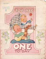 YOU ARE ONE TO-DAY on pink 1 & two babies & toy rabbit