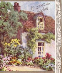 BIRTHDAY WISHES large cottage, trees left, flower garden with path, stylised flowers on gilt panel right
