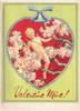VALENTINE MINE! red heart inset with cupid amid blossom tree, green background