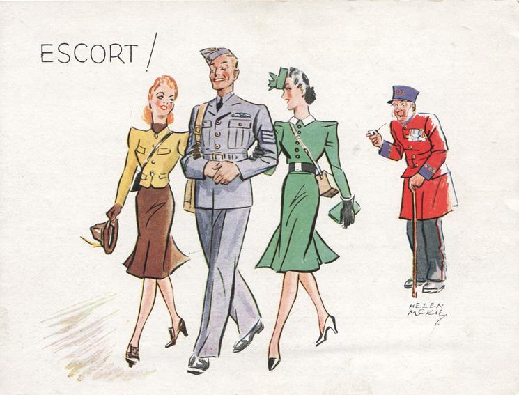 ESCORT! sargeant with eyes closed moves front left, girl on each arm, pensioner observes