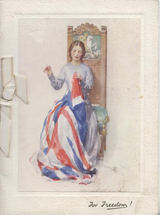 FOR FREEDOM! pretty woman sitting sewing Union Jack
