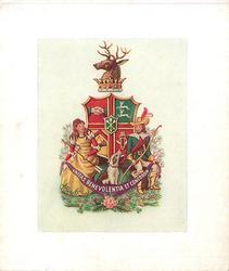 UNITAS, BENEVOLENTIA ET CONCORDIA on banner below 1815 AOF society emblem, white border