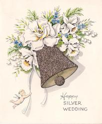 HAPPY SILVER WEDDING glittered bell with white floral sprays, small cherub hangs from ribbon left