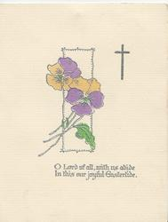 O LORD OF ALL....stylised silver bordered pansies over white plaque, cross right