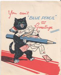 "YOU CAN'T ""BLUE PENCIL"" MY GREETINGS cat carrying large blue pencil and letters"