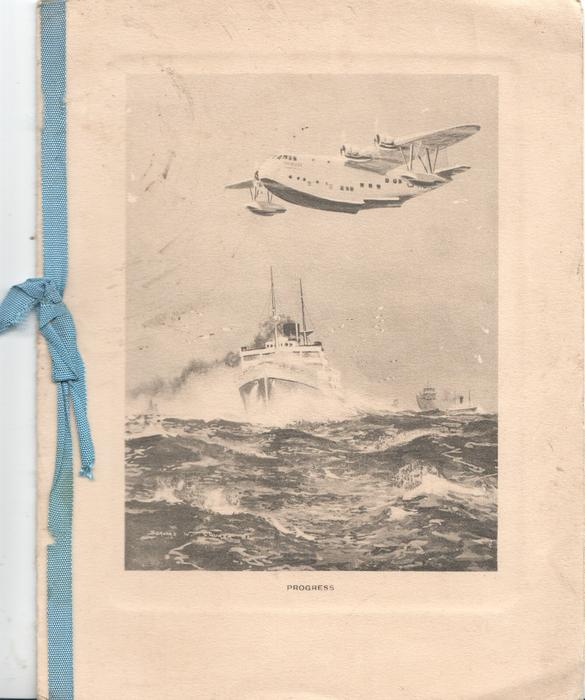 PROGRESS below inset of flying boats over convoy moving front left