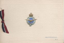 ROYAL AIR  FORCE CLUB  on gilt & blue crest, 128, PICADILLY, 1