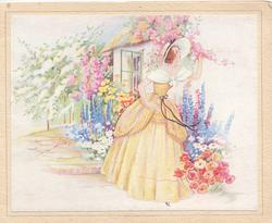 no front title, girl in yellow old style dress in garden of cottage, delphiniums & many other flowers