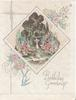 BIRTHDAY GREETINGS in silver below garden & sundial inset, stylised flowers & bluebirds around