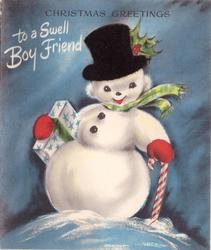 CHRISTMAS GREETINGS TO A SWELL BOYFRIEND snowman on blue background, black fuzzy applique tophat