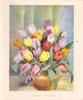 A HAPPY EASTER  many colours of tulips in bronze pot