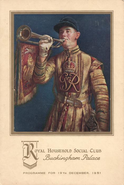 1951 PROGRAMME FOR 19TH DECEMBER , bugler in uniform facing half left