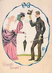 CUPID'S TARGET! cupid stands on lady's bustle, shooting arrow through man's chest, ribbon frame