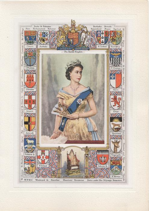 THE UNITED KINGDOM  & Q.E.II surrounded by 16 crests of Commonwealth countries