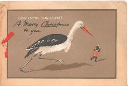 GOOD NEWS TRAVELS FAST. A MERRY CHRISTMAS TO YOU stork runs after small black child carying paper