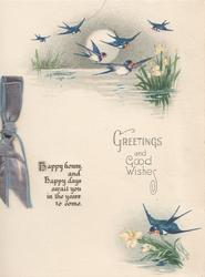 GREETINGS AND GOOD WISHES evening scene many bluebirds over lake, sun behind, verse left