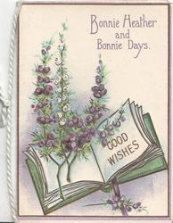 BONNIE HEATHER AND BONNIE DAYS above heather & book inscribed GOOD WISHES
