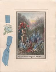 FRAGRANT WITH GOOD WISHES inset many pink roses on pedestal, blue delphiniums below