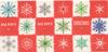 MERRY MERRY CHRISTMAS coloured snowflake designs on red & white squares