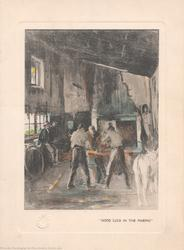 """""""GOOD LUCK IN THE MAKING"""" blacksmiths making horseshoes"""