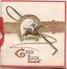 GOOD LUCK(G & L illuminated) gilt horseshoe & belt around horse racing & horse whip