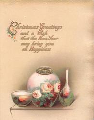 CHRISTMAS GREETINGS AND A WISH.....above 3 vases showing roses & rural design