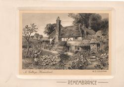 REMEMBRANCE inset of thatched house, girl stands in garden, A COTTAGE HOMESTEAD