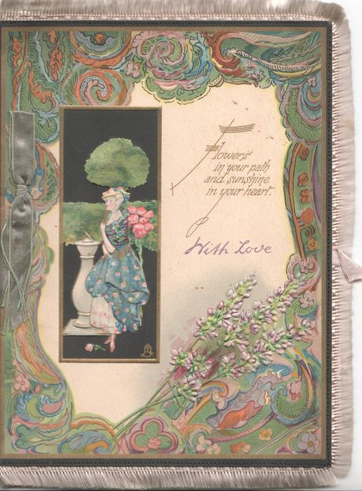 WITH LOVE in gilt below FLOWERS .....inset nouveau lady between sun dial & pink roses, in dark blue background