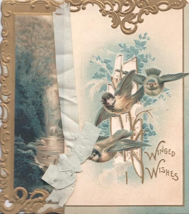 WINGED WISHES in gilt below perforated inset of 3 bluebirds of happiness flying front left under gilt design