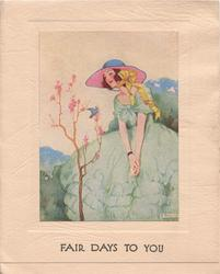 FAIR DAYS TO YOU in blue below inset of nouveau lady standing with eyes closed facing front/left