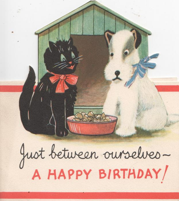 JUST BETWEEN OURSELVES --A HAPPY BIRTHDAY black cat & white dog sit on either side of dish of food, kennel behind