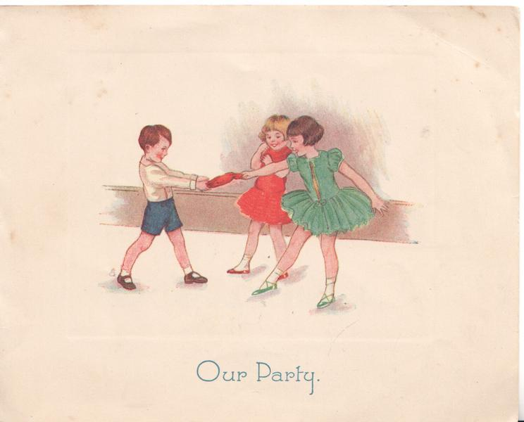OUR PARTY in blue, 2 girls & boy pull christmas cracker