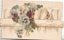 no front title, pansies grow though fence on bottom flap
