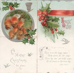 HEARTY WISHES inset 8 robins perch, holly above & below,, silver bell below, red ribbon printed across top