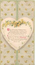 WITH MELTING EYES....yellow roses around heart shaped plaque