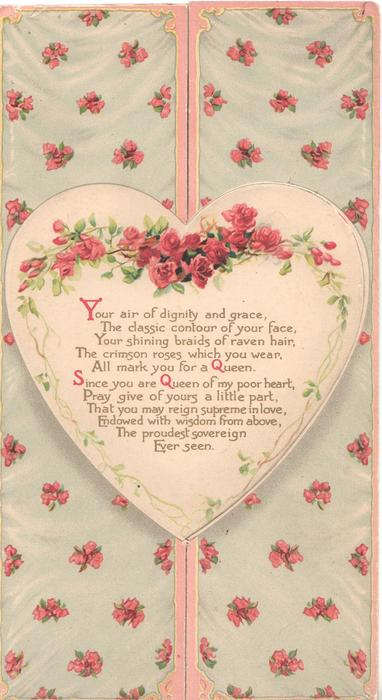 YOUR AIR OF DIGNITY AND GRACE,........pink roses around heart shaped plaque