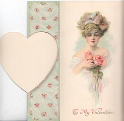 THOUGH YOUR EYES ARE DEMURE AND CAST DOWN,........pink roses around heart shaped plaque