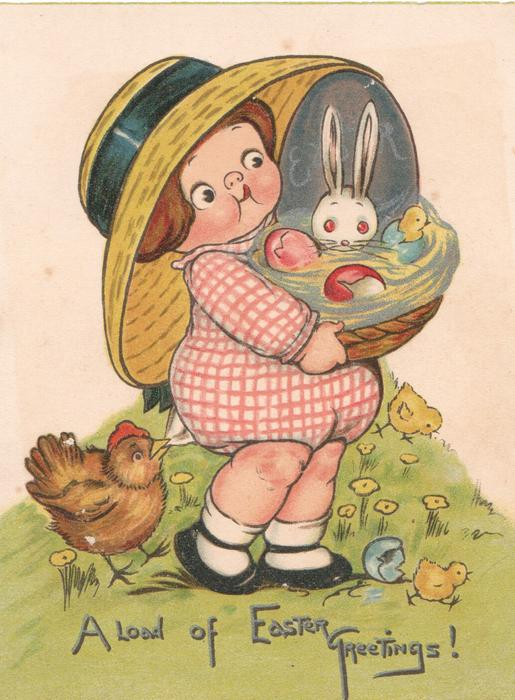 A LOAD OF EASTER GREETINGS! girl carries basket with hatching egg & rabbit, hen protests